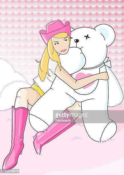 Young woman dressed in cowboy outfit with teddy bear