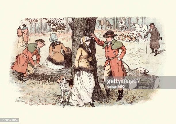 young woman flirting with huntsmen, 19th century - flirting stock illustrations, clip art, cartoons, & icons