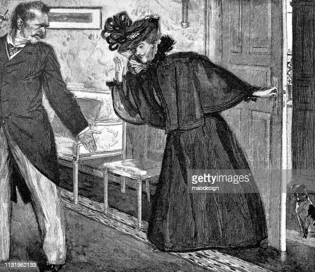 young woman greets each other as she enters the room - 1896 - other stock illustrations, clip art, cartoons, & icons
