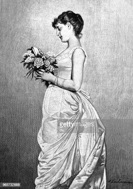 young woman holding a bouquet of flowers reading the enclosed love letter - love letter stock illustrations