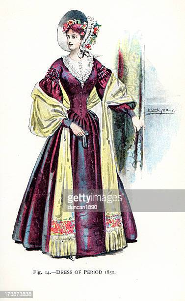 young woman in dress from the 1830s - fontanges stock illustrations, clip art, cartoons, & icons