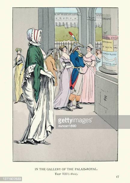 パレ・ロイヤル、パリ、時代衣装のギャラリーで若い女性 - 1800~1809年点のイラスト素材/クリップアート素材/マンガ素材/アイコン素材