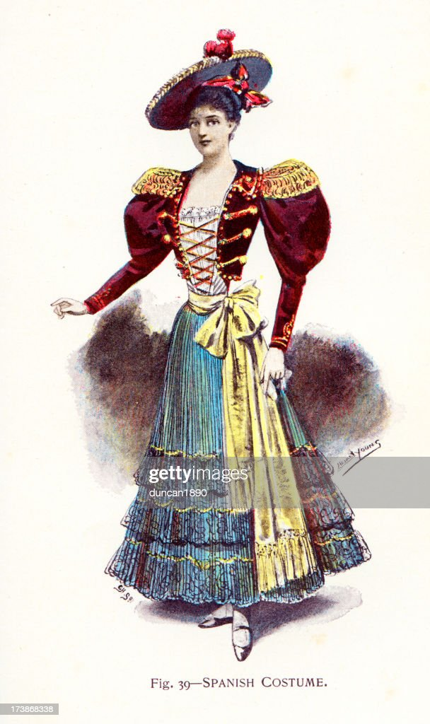 Young Woman in Traditional  Spanish Costume : stock illustration