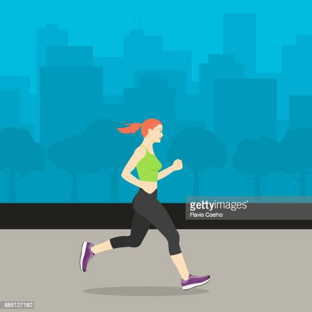 young woman jogging with cityscape on the background - one young woman only stock illustrations