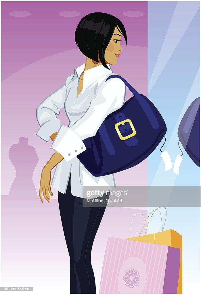 Young woman looking at self in mirror wile shopping : stock illustration
