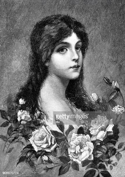 Ung kvinna stående dekorerad med rosor