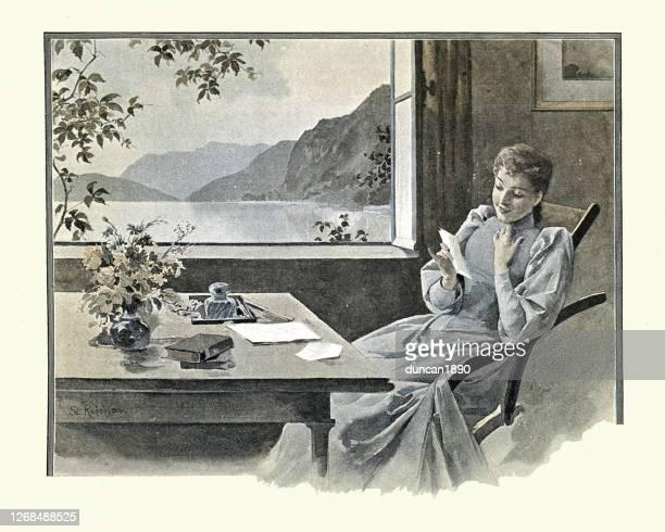 junge frau liest einen brief von geliebten menschen, viktorianischen 19. jahrhundert - neunzehntes jahrhundert stock-grafiken, -clipart, -cartoons und -symbole