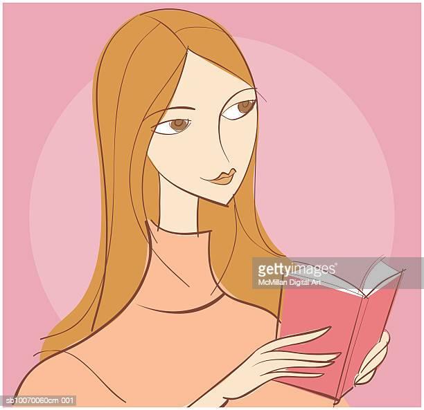 ilustrações de stock, clip art, desenhos animados e ícones de young woman reading book - cabelo liso