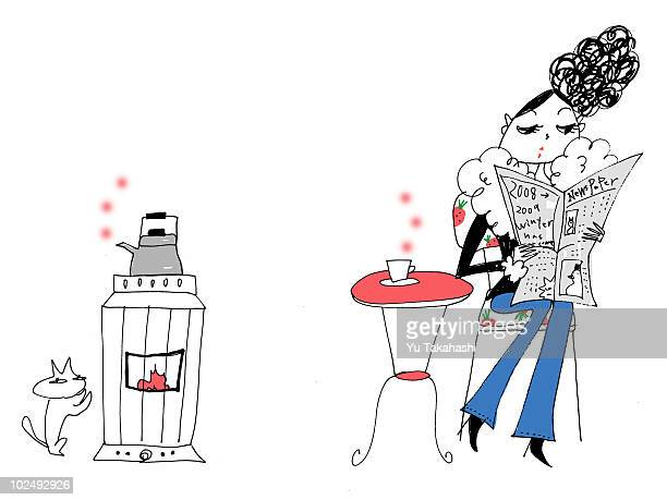 a young woman reading the newspaper over coffee - updo stock illustrations, clip art, cartoons, & icons