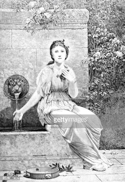 young woman sitting at a well,holding her hand in the water - 1877 stock illustrations, clip art, cartoons, & icons
