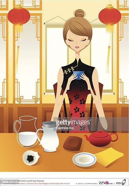 young woman sitting at breakfast table - updo stock illustrations, clip art, cartoons, & icons