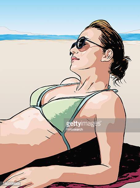 young woman sunbathing - updo stock illustrations, clip art, cartoons, & icons