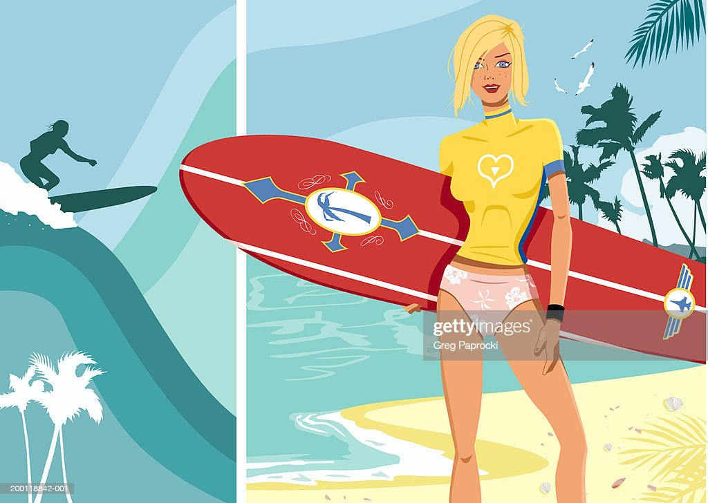 Young woman surfing and standing on beach with surfboard, portrait : Stock Illustration