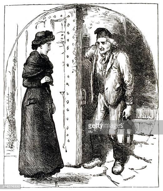 Young woman visiting the old man in his tower