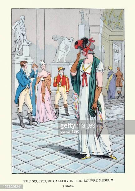 ルーヴル美術館の彫刻ギャラリーを訪れる若い女性 - 1800~1809年点のイラスト素材/クリップアート素材/マンガ素材/アイコン素材