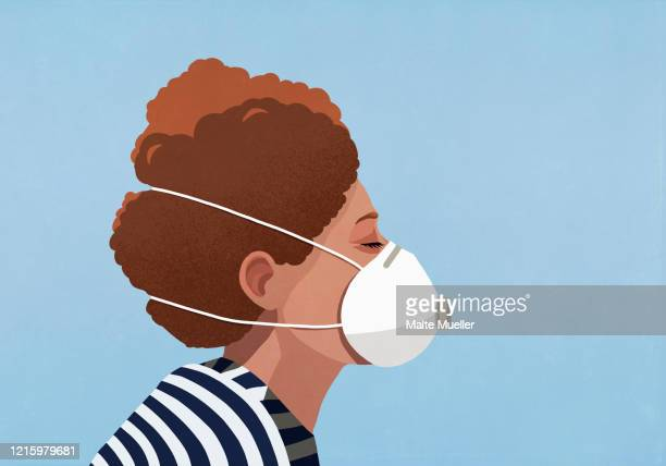 young woman wearing flu mask - mundschutz stock-grafiken, -clipart, -cartoons und -symbole