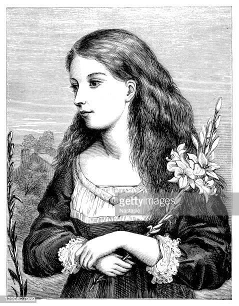 ilustrações, clipart, desenhos animados e ícones de jovem mulher com flores de lírio - cartoon characters with curly hair