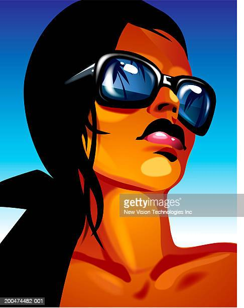 Young woman with palm trees and beach reflected in sunglasses