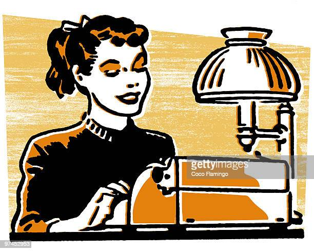 a young woman working on a typewriter - tiziano vecellio stock illustrations, clip art, cartoons, & icons