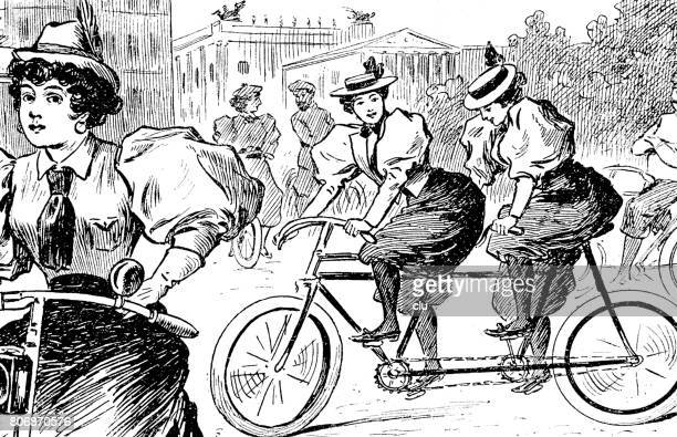 young women cycling on tandem in the city - history stock illustrations, clip art, cartoons, & icons