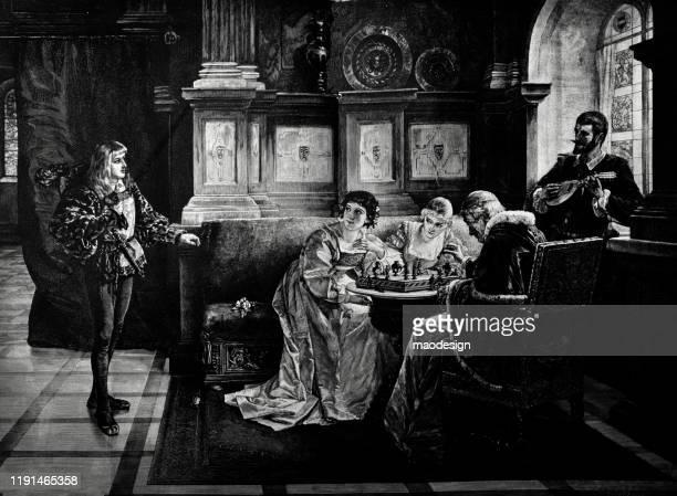 ilustrações, clipart, desenhos animados e ícones de as mulheres novas jogam a xadrez com o bispo na corte real - 1887