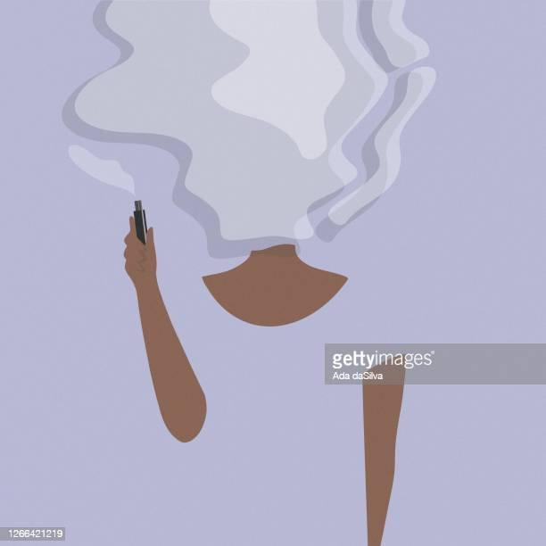 junge frauen rauchen elektronische zigarette. - attraktive frau stock-grafiken, -clipart, -cartoons und -symbole