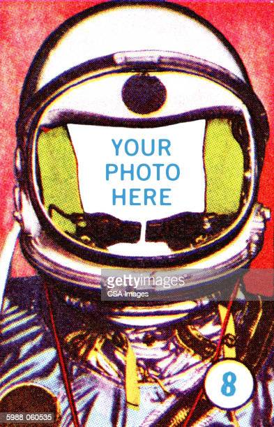 "your photo here"" spacema - space helmet stock illustrations"