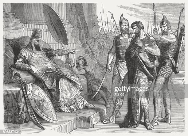 zedekiah before nebuchadnezzar (2 kings 25), wood engraving, published 1886 - ancient babylon stock illustrations