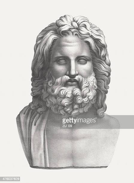 zeus - supreme god of greek mythology, published c. 1830 - greek statue stock illustrations