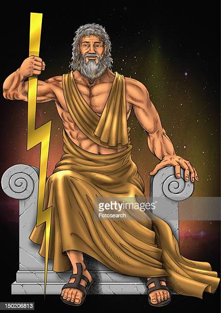 ilustraciones, imágenes clip art, dibujos animados e iconos de stock de zeus with his lightning rod - zeus