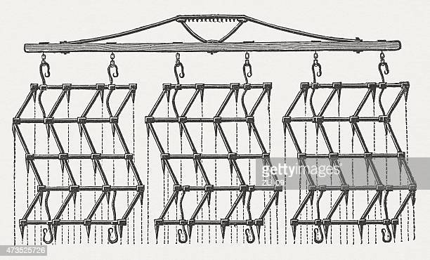zigzag harrow, wood engraving, published in 1875 - harrow agricultural equipment stock illustrations, clip art, cartoons, & icons