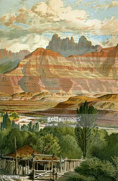 zion nation park canyon floor - utah stock illustrations, clip art, cartoons, & icons