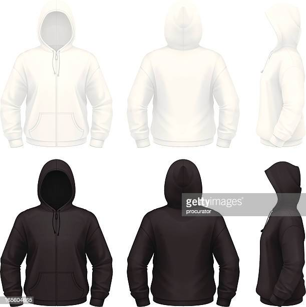 zip hoodie - hooded top stock illustrations