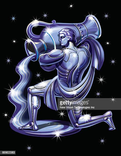 illustrations, cliparts, dessins animés et icônes de zodiac aquarius - signe du verseau