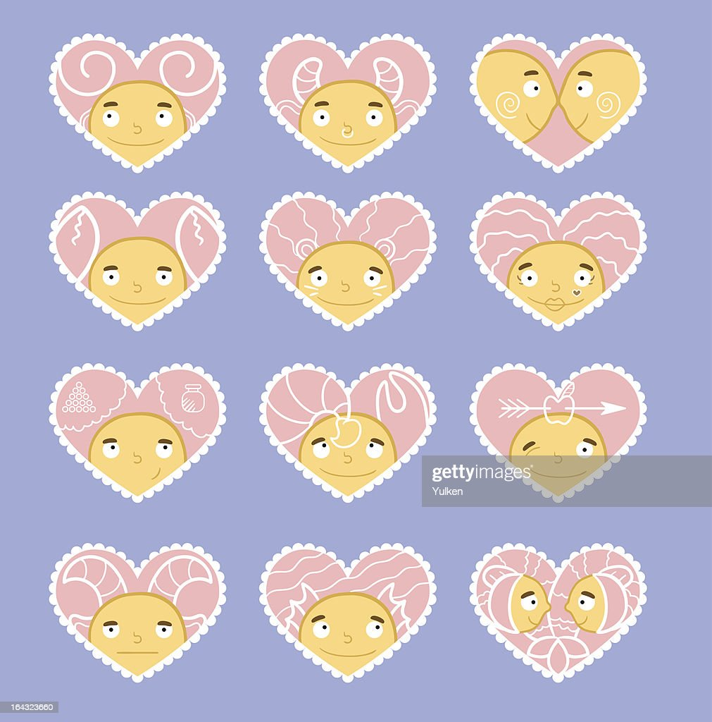 Zodiac Valentines Day Hearts Vector Illustration Vector Art Getty