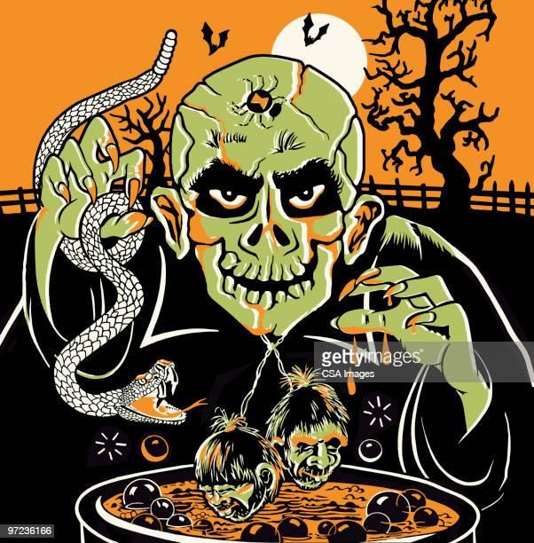 zombie at cauldron on halloween - cauldron stock illustrations, clip art, cartoons, & icons