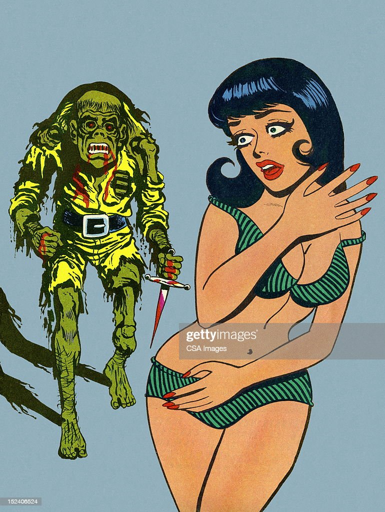 Zombie Coming After Woman in Bikini : stock illustration