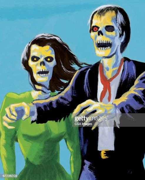 zombie couple - zombie stock illustrations, clip art, cartoons, & icons