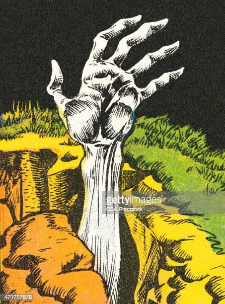 stockillustraties, clipart, cartoons en iconen met zombie hand - monster fictional character