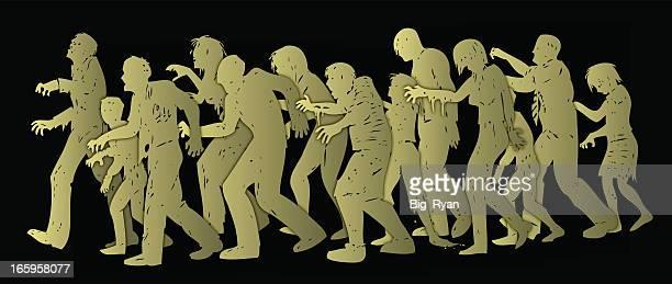 zombie hoard - zombie stock illustrations, clip art, cartoons, & icons