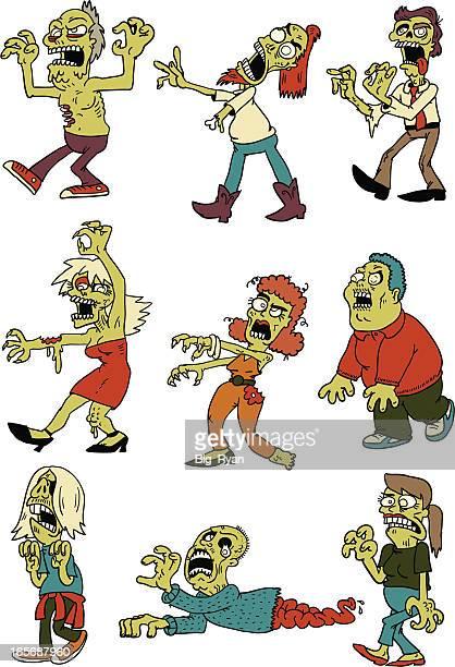 zombie horde - zombie stock illustrations, clip art, cartoons, & icons