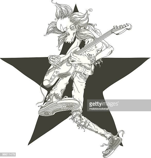 zombie rocks! - guitarist stock illustrations, clip art, cartoons, & icons
