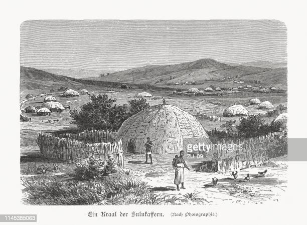 Zulu kraal in Southern Africa, wood engraving, published in 1897