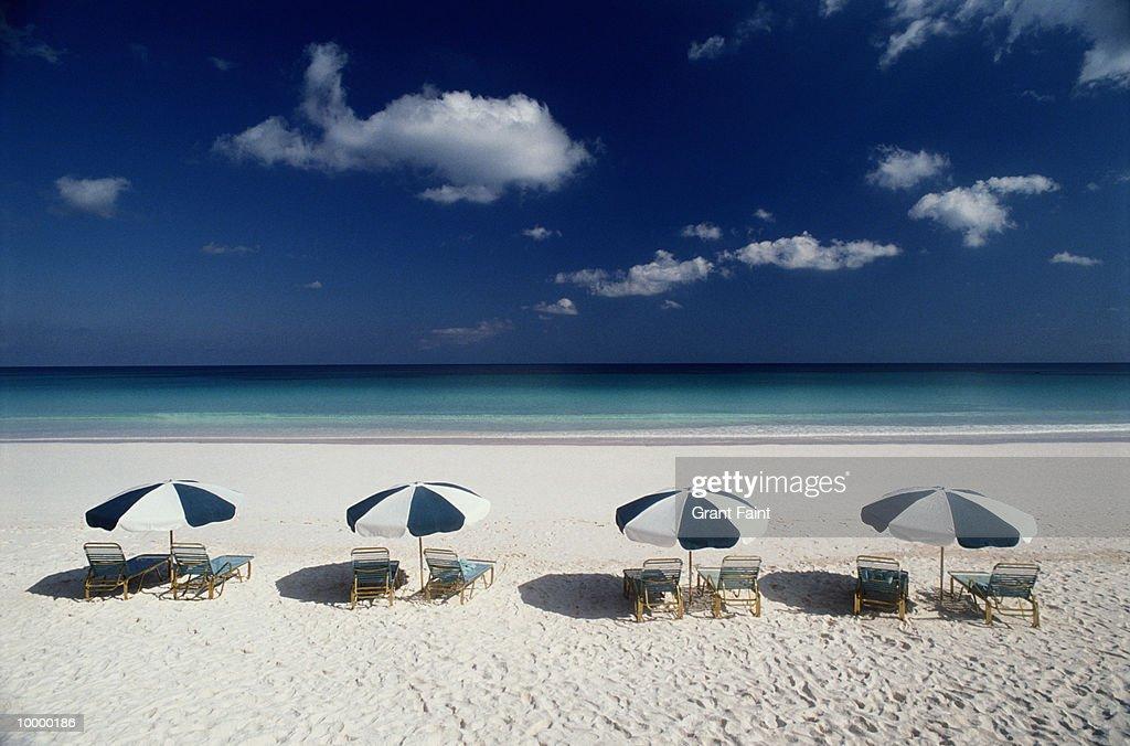 UMBRELLA & CHAIRS ON BEACH IN THE BAHAMAS : Bildbanksbilder