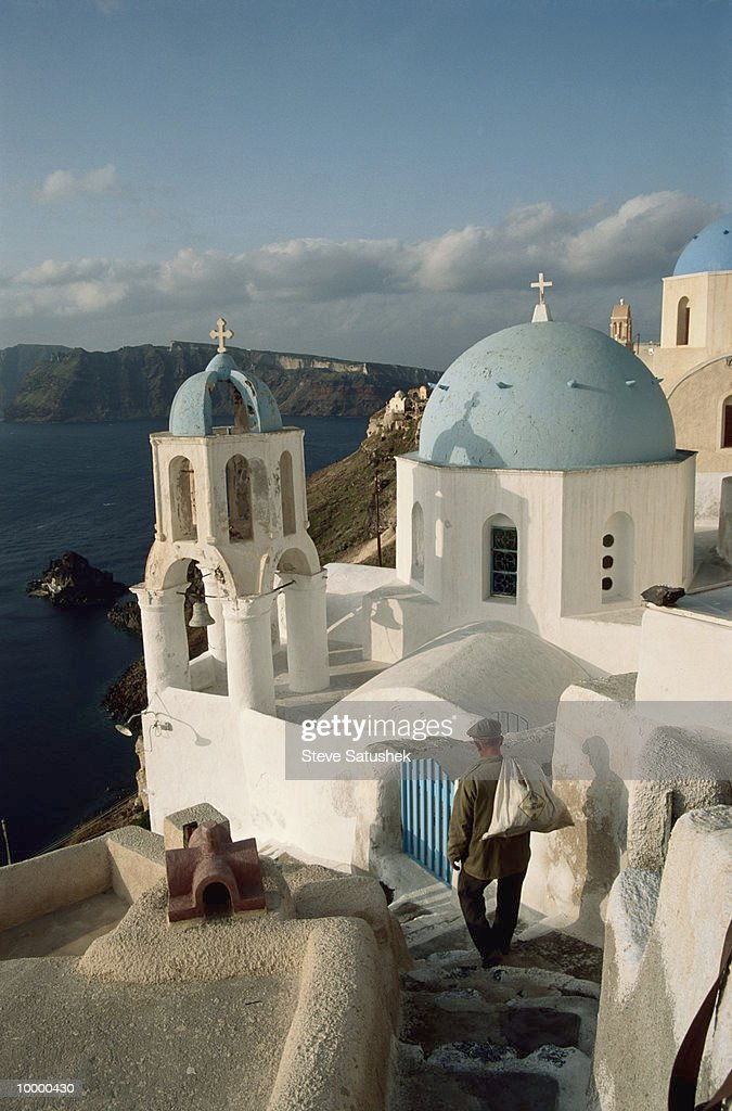 CHURCH STEEPLES BY SEA IN SANTORINI, GREECE : Photo