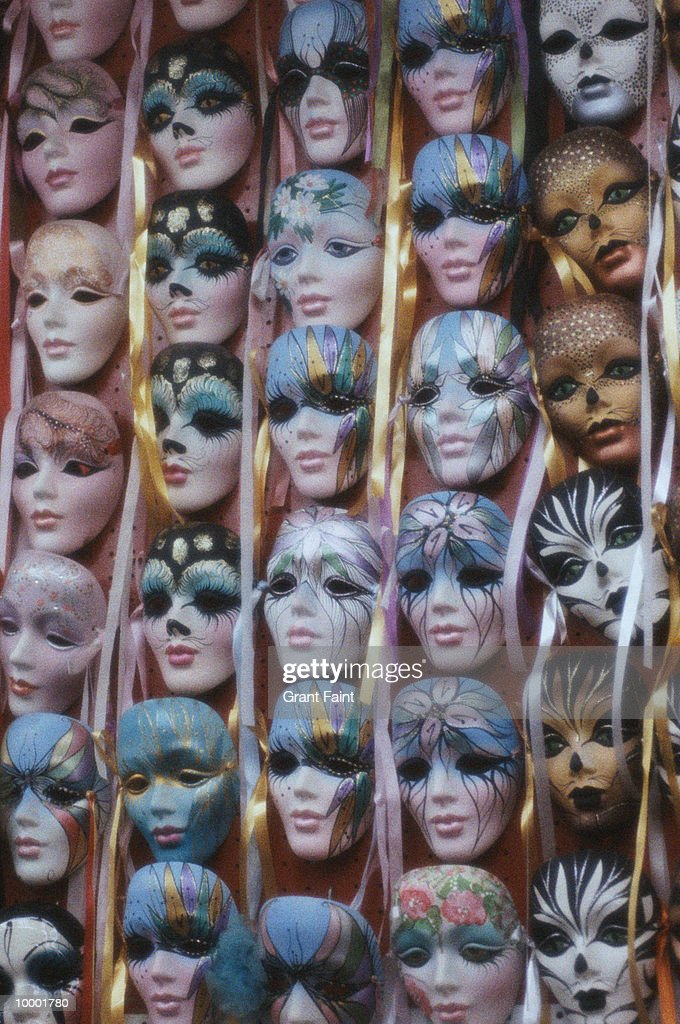 WALL OF MARDI GRAS MASKS IN NEW ORLEANS : Stock Photo