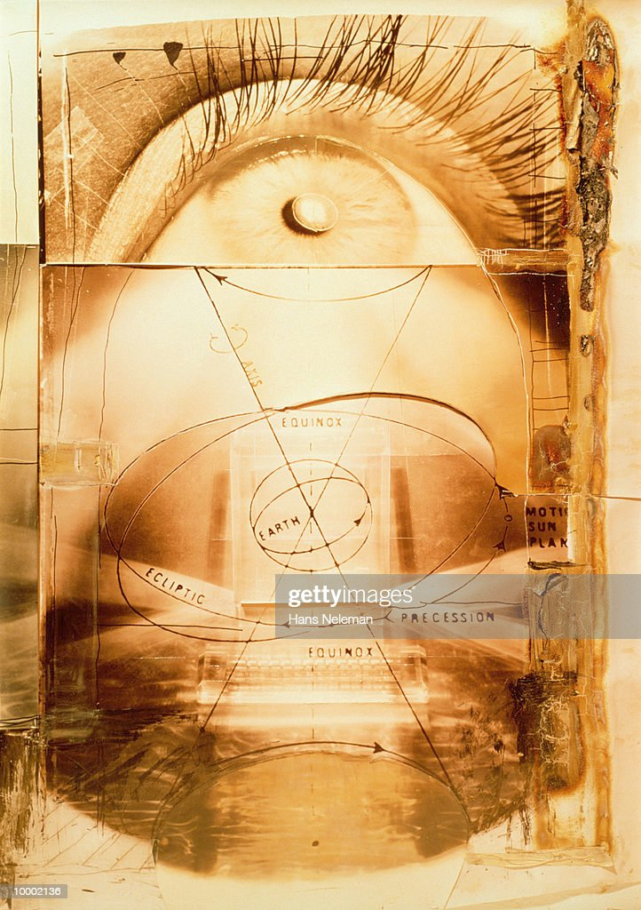 ORBIT PATTERNS, EYE & COMPUTER IN ABSTRACT : Stock Photo