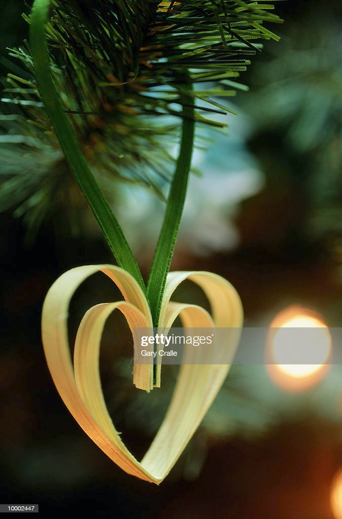 DOUBLE HEART SHAPED CHRISTMAS ORNAMENT IN SWEDEN : Stock Photo