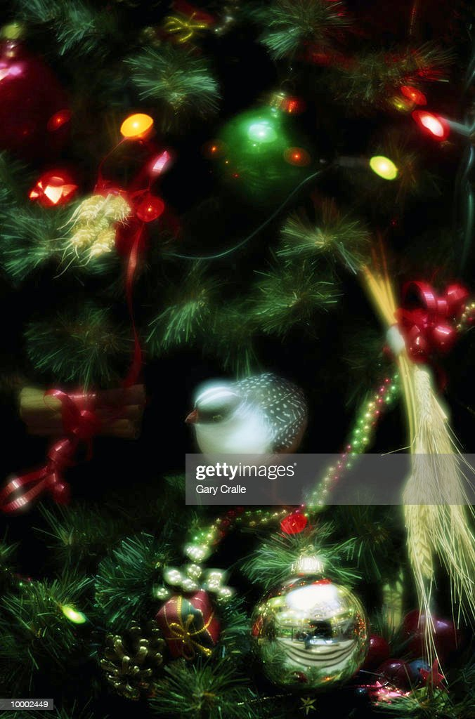 DECORATED CHRISTMAS TREE IN PORTUGAL IN DETAIL : Bildbanksbilder