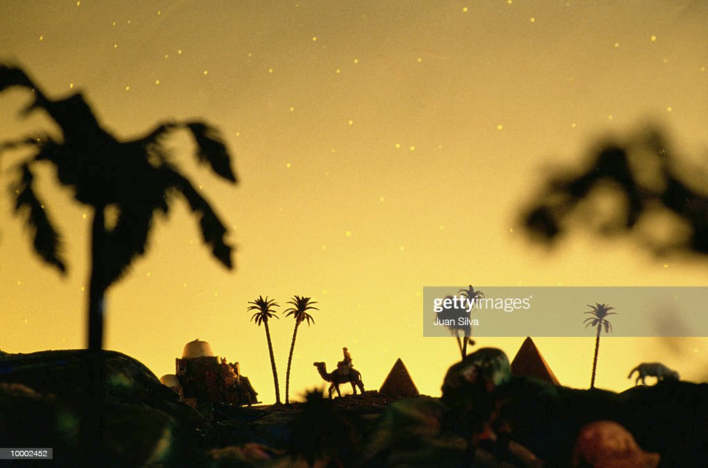 NATIVITY SCENERY WITH CAMEL & PYRAMIDS : Stock Photo